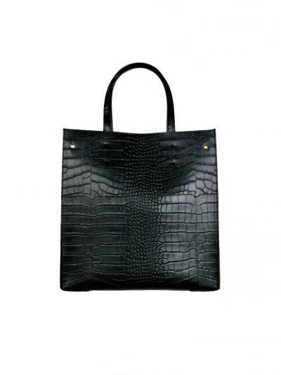 Leren Handtas Suede Croco zwart zwarte lederen tasssen giuliano kroko leer rode voering klassieke classy leather bags kopen achter