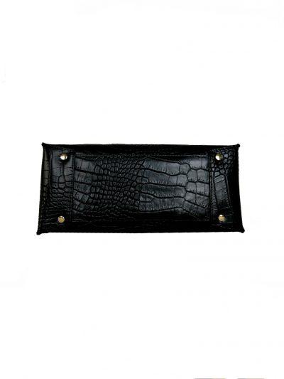 Leren Handtas Suede Croco zwart zwarte lederen tasssen giuliano kroko leer rode voering klassieke classy leather bags kopen onderkant