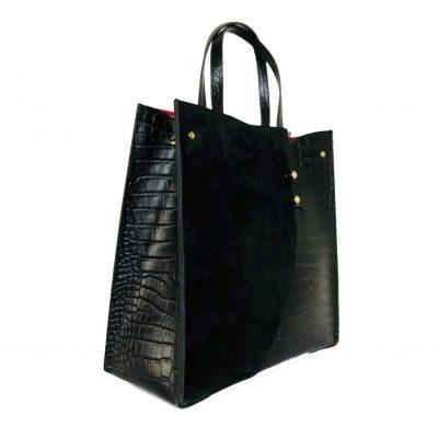 Leren Handtas Suede Croco zwarte zwart lederen tasssen giuliano kroko leer rode voering klassieke classy leather bags kopen bestellen side