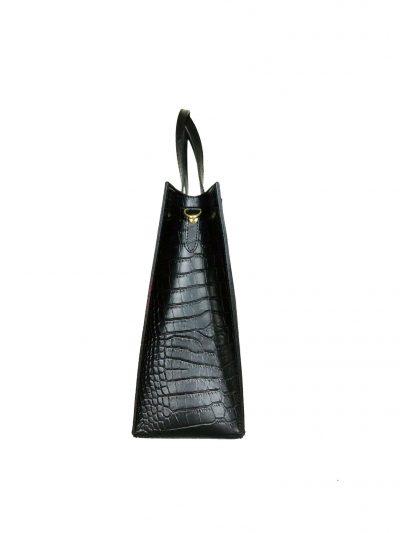 Leren Handtas Suede Croco zwarte zwart lederen tasssen giuliano kroko leer rode voering klassieke classy leather bags kopen bestellen zij