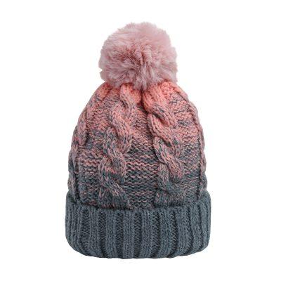 Muts-Two Tones roze grijs grijze -Beanie-dames-mutsen-wollen-bolletje-warme-mutsen-beanies met gebreide muts gevoerd-online-bestellen-kopen-