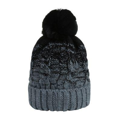 Muts-Two Tones zwart zwarte grijs grijze -Beanie-dames-mutsen-wollen-bolletje-warme-mutsen-beanies met gebreide muts gevoerd-online-bestellen-kopen-
