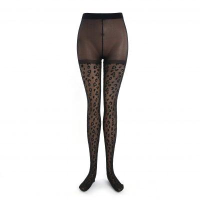 Panty Leopard zwart zwarte dames panty met f print 280 dennier hys han yishow panties tights kopen fashion musthaves