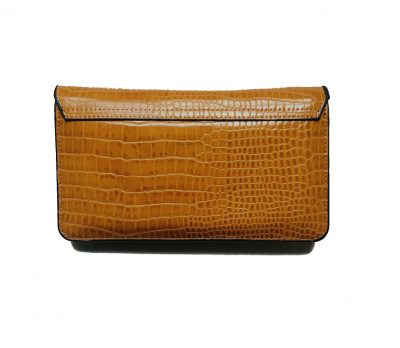 Portemonnee Clutch Bag Croco geel gele dames schoudertasjes portemonnees polsband kroko print giuliano achter
