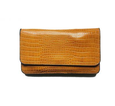Portemonnee Clutch Bag Croco geel gele dames schoudertasjes portemonnees polsband kroko print giuliano