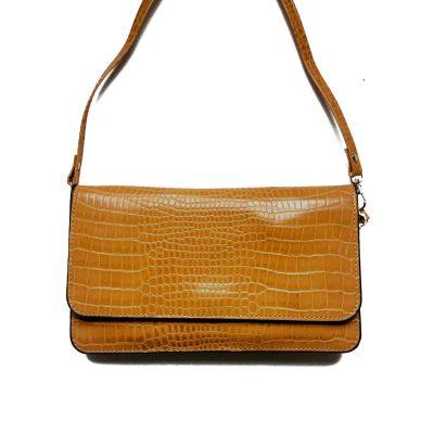 Portemonnee Clutch Bag Croco geel gele dames schoudertasjes portemonnees polsband kroko print giuliano hengse;