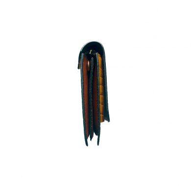 Portemonnee Clutch Bag Croco geel gele dames schoudertasjes portemonnees polsband kroko print giuliano hengsel