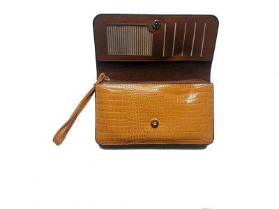 Portemonnee Clutch Bag Croco geel gele dames schoudertasjes portemonnees polsband kroko print giuliano kopen
