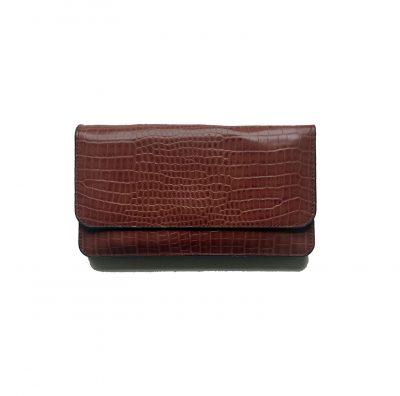 Portemonnee Clutch Bag Croco oud roze pink dames schoudertasjes portemonnees polsband kroko print giuliano