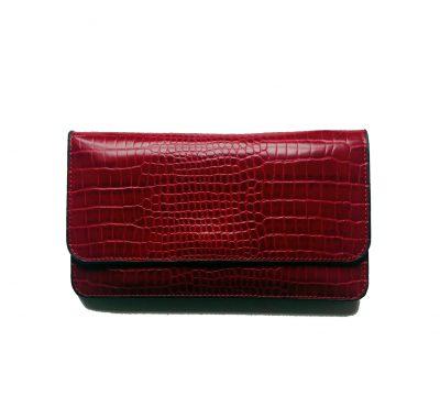 Portemonnee Clutch Bag Croco rood rode cherry dames schoudertasjes portemonnees polsband kroko print giuliano