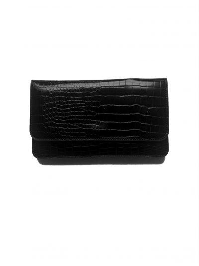 Portemonnee Clutch Bag Croco zwart zwarte dames schoudertasjes portemonnees polsband kroko print giuliano