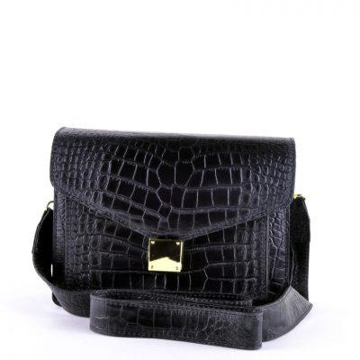 Schoudertas-Croco-Fashion-zwart zwarte-doktertas-brede en -smalle-hengsel-kroko-print-goud-beslag-giuliano-leder-kopen