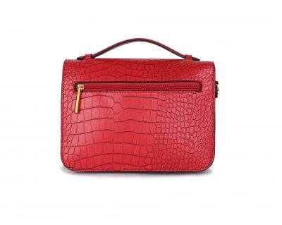Schoudertas My Croco rood rode dames tassen kroko print handtassen kunstleder giuliano kopen bestellen Trendy tas achter