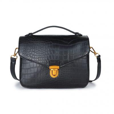 Schoudertas My Croco zwart zwarte dames tassen kroko print handtassen kunstleder giuliano kopen bestellen Trendy tas