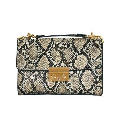 Schoudertas Shiney Snake beige creme nude glanzende slangenprint dames tassen met gouden kettinghengsel giuliano bags kopen