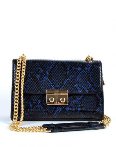 Schoudertas-Shiney-Snake-blauw blauwe-glanzende-slangenprint-dames-tassen-met-gouden-kettinghengsel-giuliano-bags-kopen