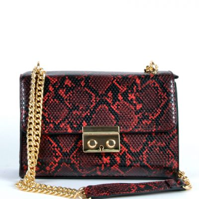 Schoudertas-Shiney-Snake-rood rode-glanzende-slangenprint-dames-tassen-met-gouden-kettinghengsel-giuliano-bags-kopen