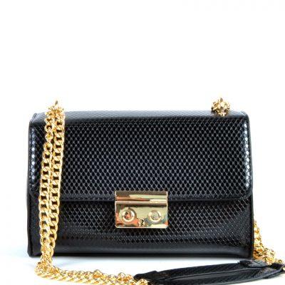 Schoudertas-Shiney-Snake-zwart zwarte-glanzende-slangenprint-dames-tassen-met-gouden-kettinghengsel-giuliano-bags-kopen