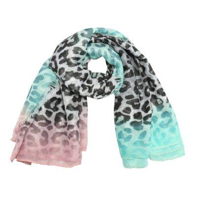 Sjaal Happy Leoparty grijs grijze mint turquoise lange gekleurde damessjaals met tijgerprint dierenprint leopard print kopen yehwang