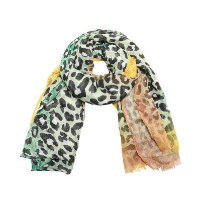 Sjaal Happy Leoparty groen groene geel gele lange gekleurde damessjaals met tijgerprint dierenprint leopard print kopen yehwang