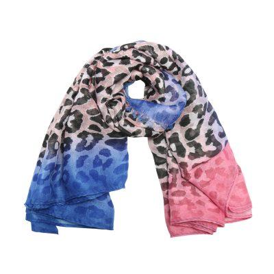 Sjaal Happy Leoparty roze pink blauwe lange gekleurde damessjaals met tijgerprint dierenprint leopard print kopen yehwang