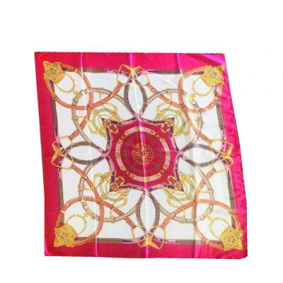 Sjaaltje Chain Fantasy pink roze fushia gouden sjaaltjes bandana print kleine dames sjaals felle fashion kopen