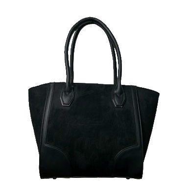 Zwarte Suède Tas Work zwart zwarte dames handtassen schoudertassen kantoor werk tas giuliano trendy fashion bags kopen bestellen