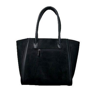 Zwarte Suède Tas Work zwart zwarte dames handtassen schoudertassen kantoor werk tas giuliano trendy fashion bags kopen bestellen achterkant