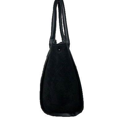 Zwarte Suède Tas Work zwart zwarte dames handtassen schoudertassen kantoor werk tas giuliano trendy fashion bags kopen bestellen zijkant