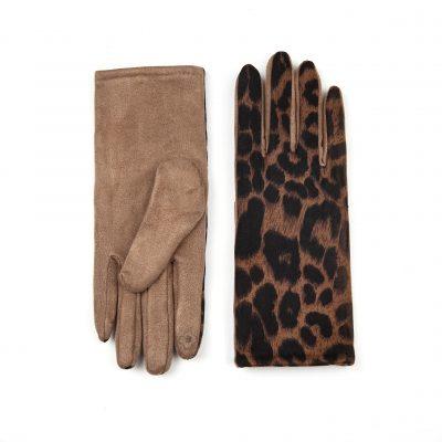 Handschoenen Pretty Leopard Khaki bruin bruine dames handschoenen kopen winteraccessoires goedkoop kopen