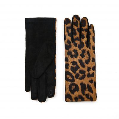 Handschoenen Pretty Leopard donker Khaki bruin bruine dames handschoenen kopen winteraccessoires goedkoop kopen