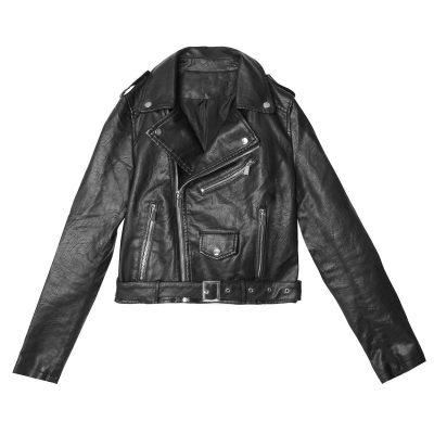 Leren Jas Motor Girl zwart zwarte biker jacket dames jassen gevoerd trendy fashion motor jassen kopen goedkoop