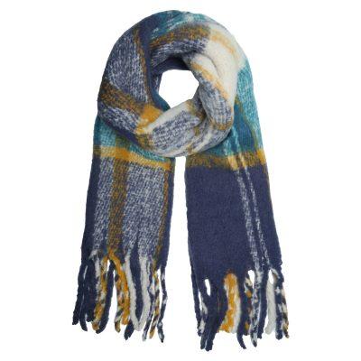 Sjaal Keep Warm blauw blauwe geblokte gele geblokte sjaals dames wollen dikke shawl dikke grote sjaals kopen winteraccessoires details