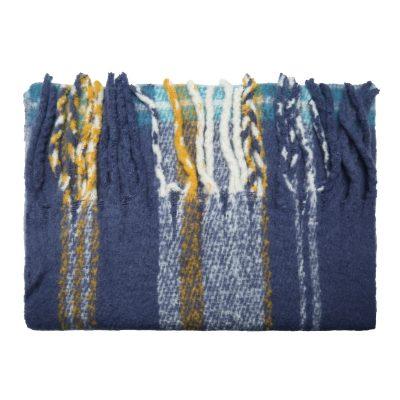 Sjaal Keep Warm blauw blauwe geblokte gele geblokte sjaals dames wollen dikke shawls dikke grote sjaals kopen winteraccessoires details