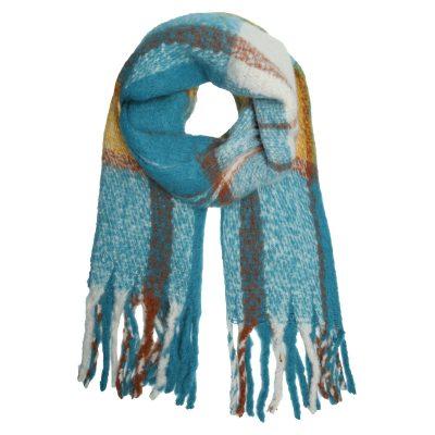 Sjaal Keep Warm licht blauw blauwe geblokte gele geel geblokte sjaals dames wollen dikke shawl dikke grote sjaals kopen winteraccessoires details
