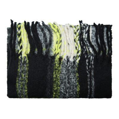 Sjaal Keep Warm zwart zwarte geblokte neon gele geblokte sjaals dames wollen dikke shawl dikke grote sjaals kopen winteraccessoires