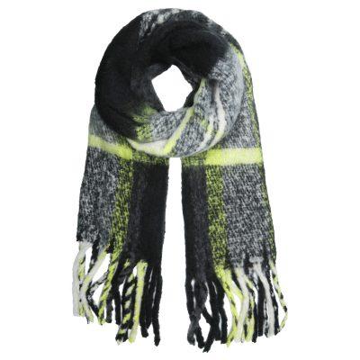 Sjaal Keep Warm zwart zwarte geblokte neon gele geblokte sjaals dames wollen dikke shawl gekleurde dikke grote sjaals kopen winteraccessoires