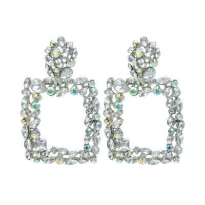 Statement Oorbellen Bling Fever zilver zilveren wit stenen strass glamour statement fashion earrings party yehwang sieraden kopen