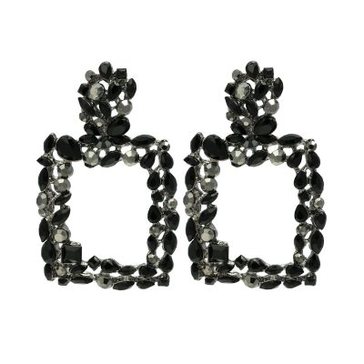 Statement Oorbellen Bling Fever zwart zwarte stenen strass glamour statement fashion earrings party yehwang sieraden kopen