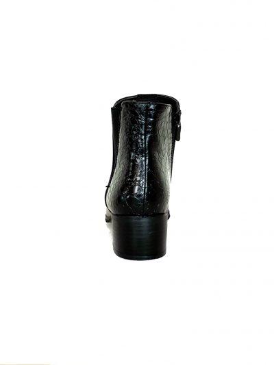 Zwarte Enkellaarzen Pretty Croco zwart enkellaarsjes laarzen korte laarsjes chelsea boots booties kopen bestellen achterkant
