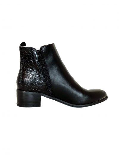 Zwarte Enkellaarzen Pretty Croco zwart enkellaarsjes laarzen korte laarsjes chelsea boots booties rits kopen bestellen
