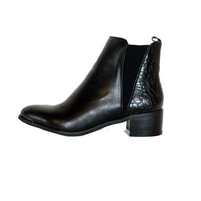 Zwarte Enkellaarzen Pretty Croco zwart enkellaarsjes laarzen korte laarsjes chelsea boots booties rits kopen bestellen leuke
