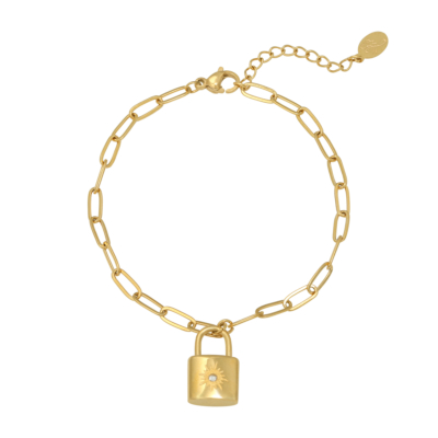 Armband Love Lock goud gouden dames armbanden bracelets schakelarmband met slotje slot zikornia steentje kopen kado bestellen