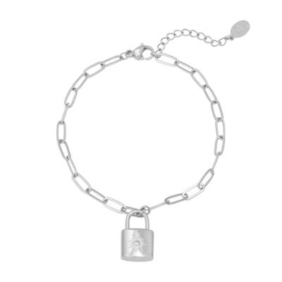 Armband Love Lock zilver zilveren dames armbanden bracelets schakelarmband met slotje zikornia steentje slot kopen kado bestellen