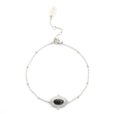 Armband-Mystic-Life-zilver zilveren dames-armbanden-met hanger-ketting-zwarte steen