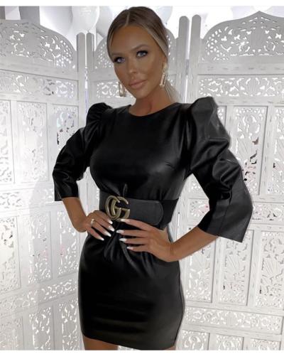 zwarte leren jurk met pof mouwen trendy jurken dames jurk kopen bestellen