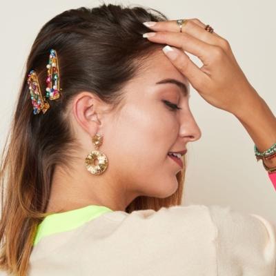 Haarclip Rainbow Pearls gouden grote haarclips verschillen regenboog kleuren multi dames haar accessoires online kopen trendy
