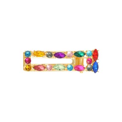 Haarclip Rainbow Square gouden grote haarclips verschillen regenboog kleuren multi dames haar accessoires online kopen