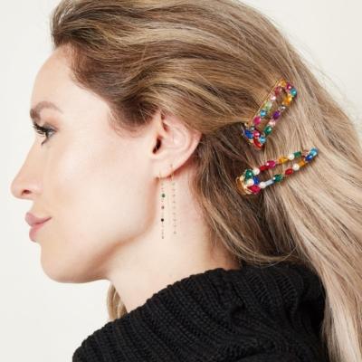 Haarclip Rainbow Square gouden grote haarclips verschillen regenboog kleuren multi dames haar accessoires online kopen trendy