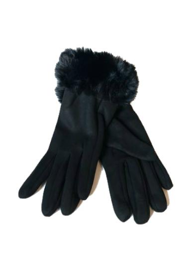 Handschoenen Happy Fur zwart zwarte dames handschoenen suedine suede fake fur winter accessoires telefoon kopen